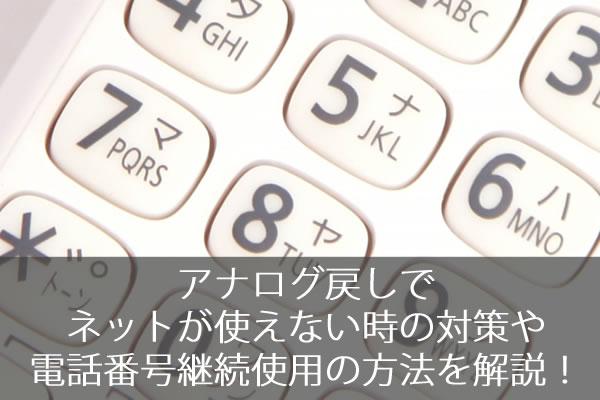 アナログ戻しでネットが使えない時の対策や電話番号継続使用の方法を解説!