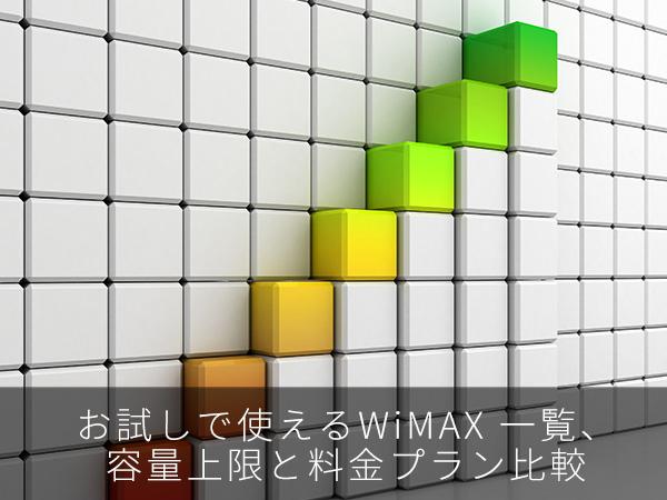 お試しで使えるWiMAX 一覧、容量上限と料金プラン比較